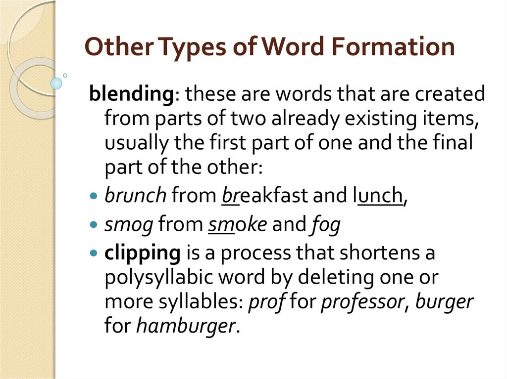 Other Types of Word Formation