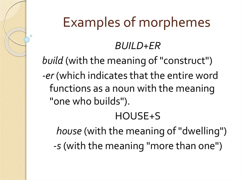 Examples of morphemes