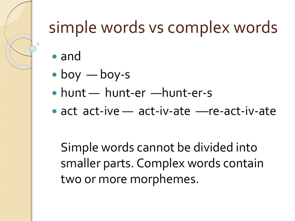 simple words vs complex words