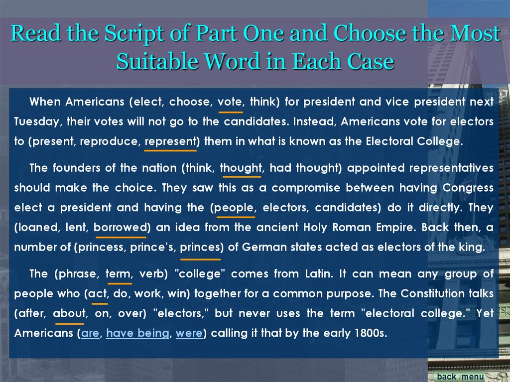 Read the Script of Part One and Choose the Most Suitable Word in Each Case