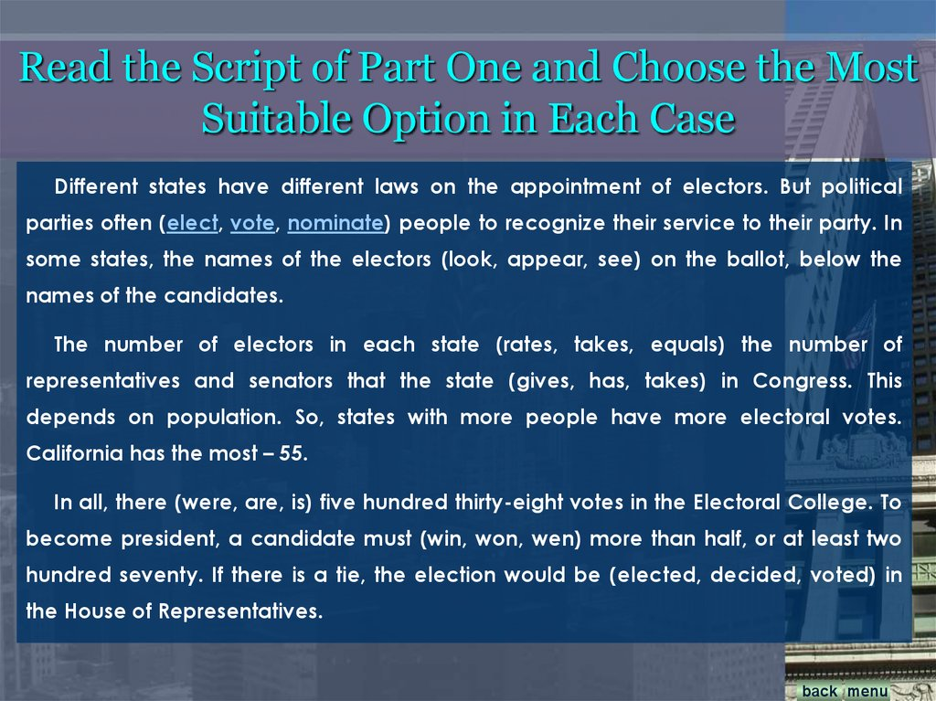 Read the Script of Part One and Choose the Most Suitable Option in Each Case
