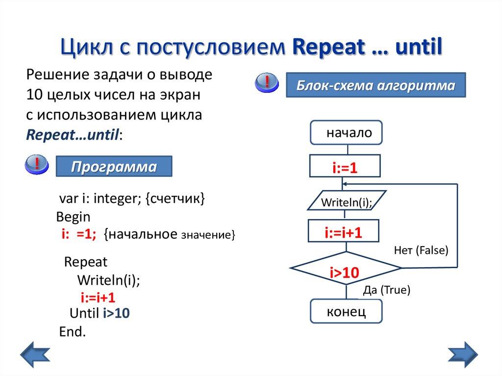 Решение задач с циклом постусловия задачи по информатике паскаль с решением 9 класс