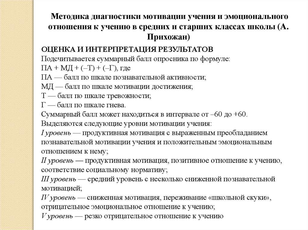 Методика диагностики мотивации учения и эмоционального ...