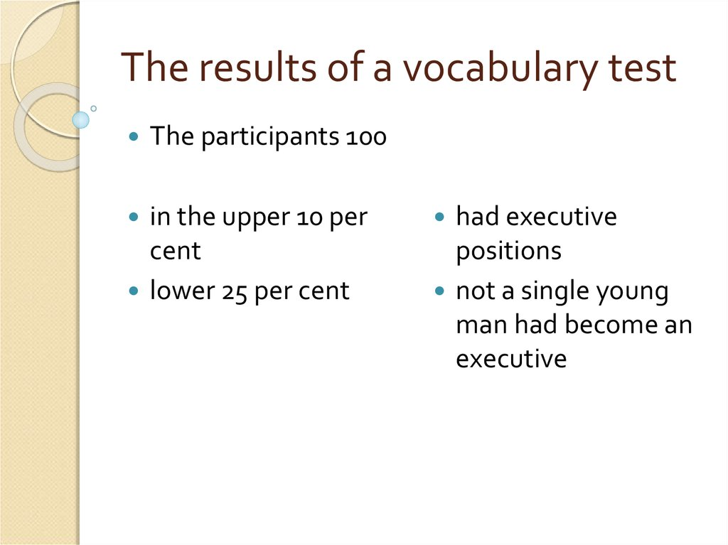 The results of a vocabulary test