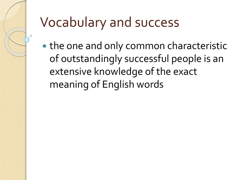 Vocabulary and success