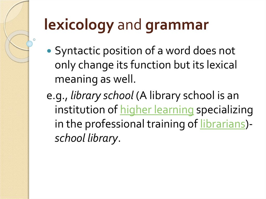 lexicology and grammar