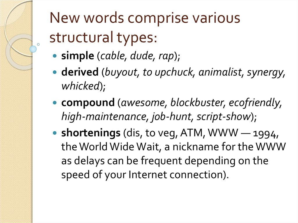 New words comprise various structural types: