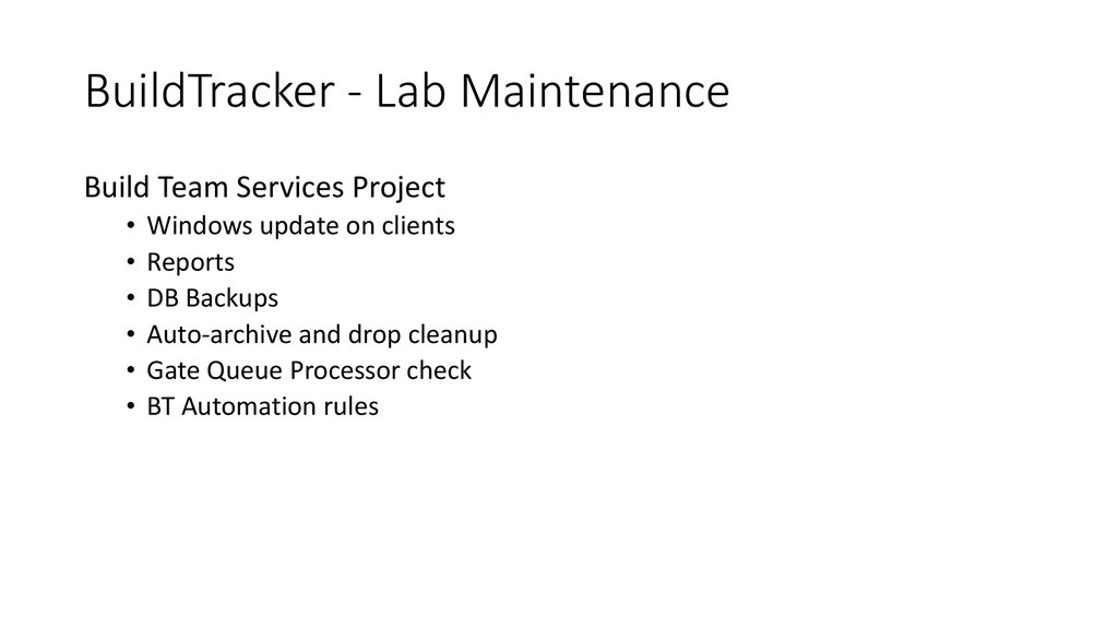 BuildTracker - Lab Maintenance