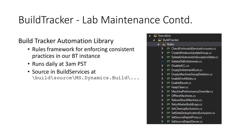 BuildTracker - Lab Maintenance Contd.