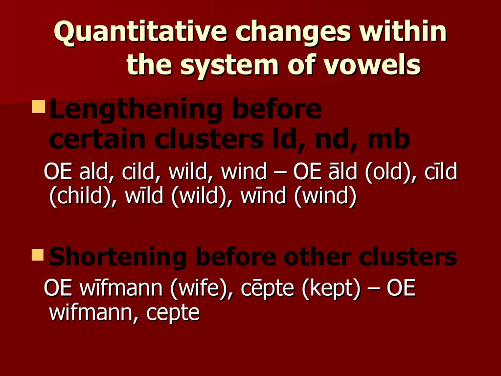 Quantitative changes within the system of vowels