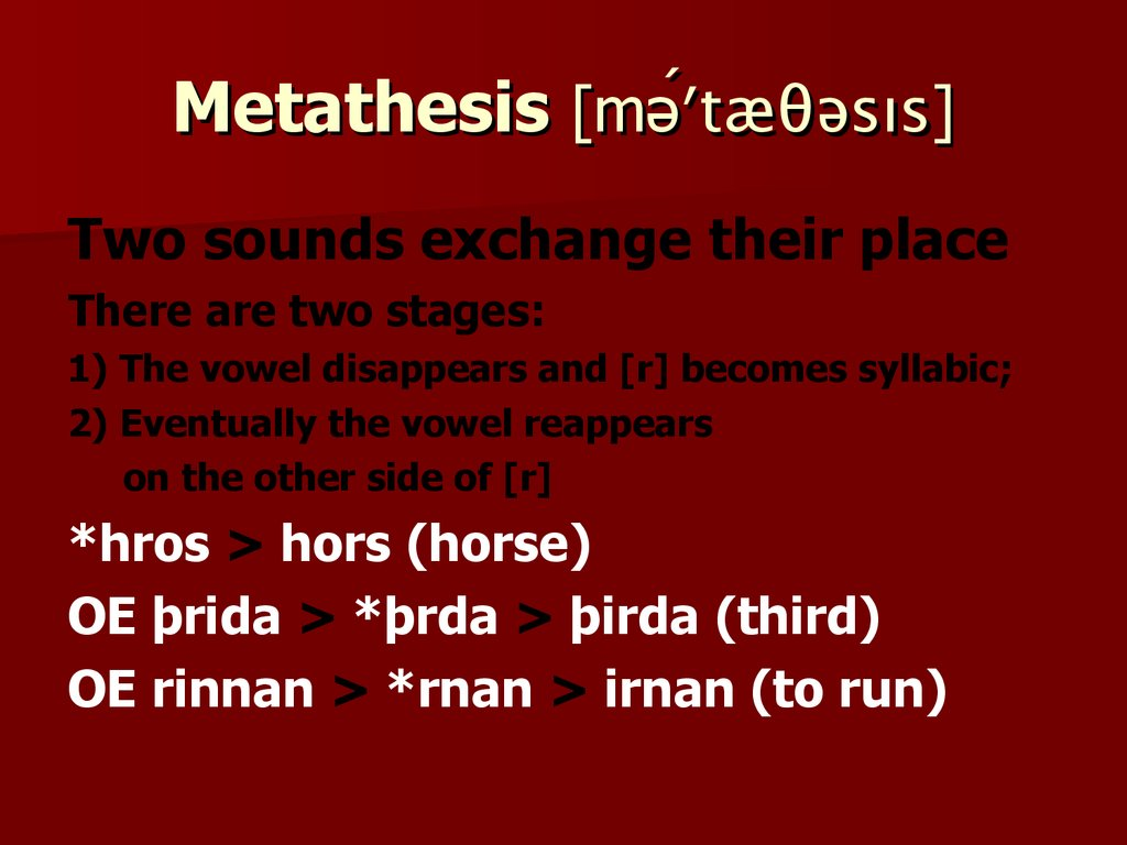 old english metathesis The vocabulary of old english 1 general characteristics metathesis  the transposition of sounds within a word is known as 'metathesis'.