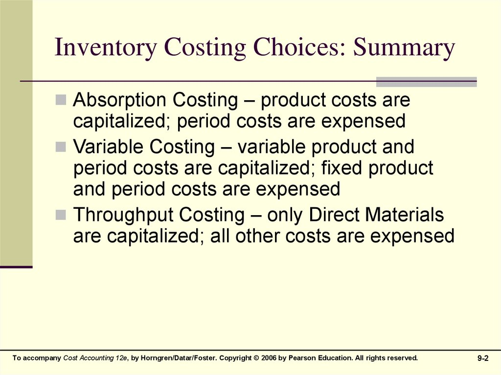 Inventory Costing Choices: Summary