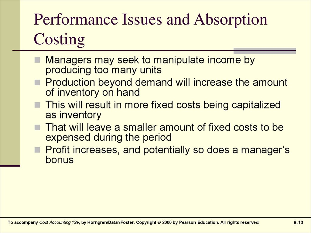 Performance Issues and Absorption Costing