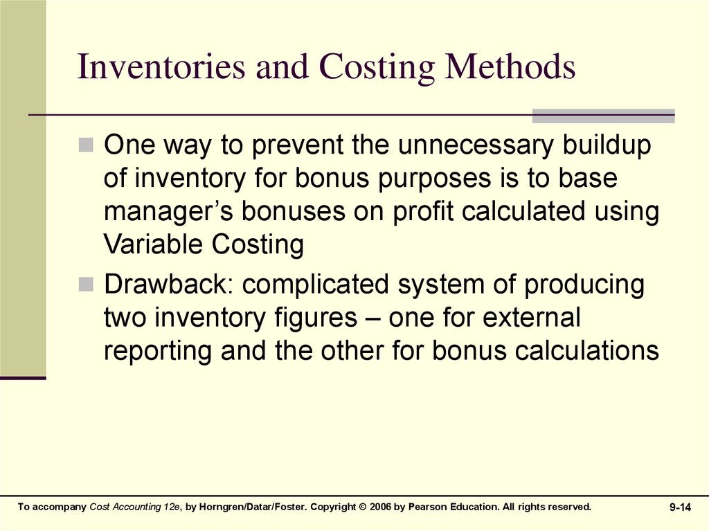 Inventories and Costing Methods