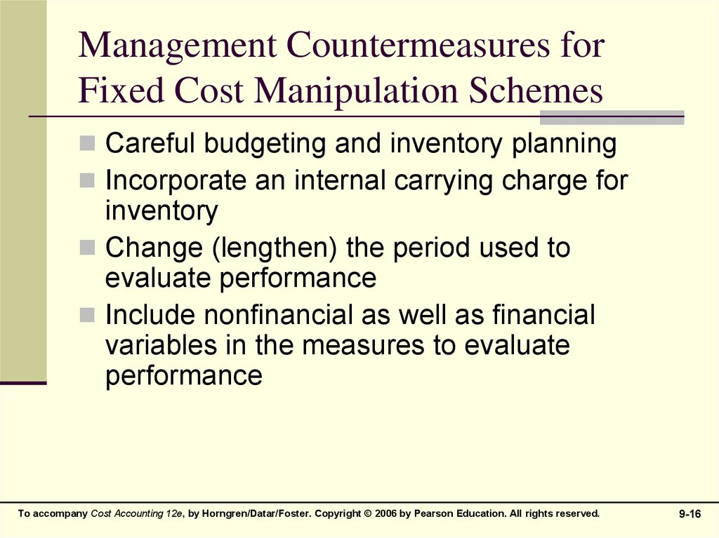Management Countermeasures for Fixed Cost Manipulation Schemes
