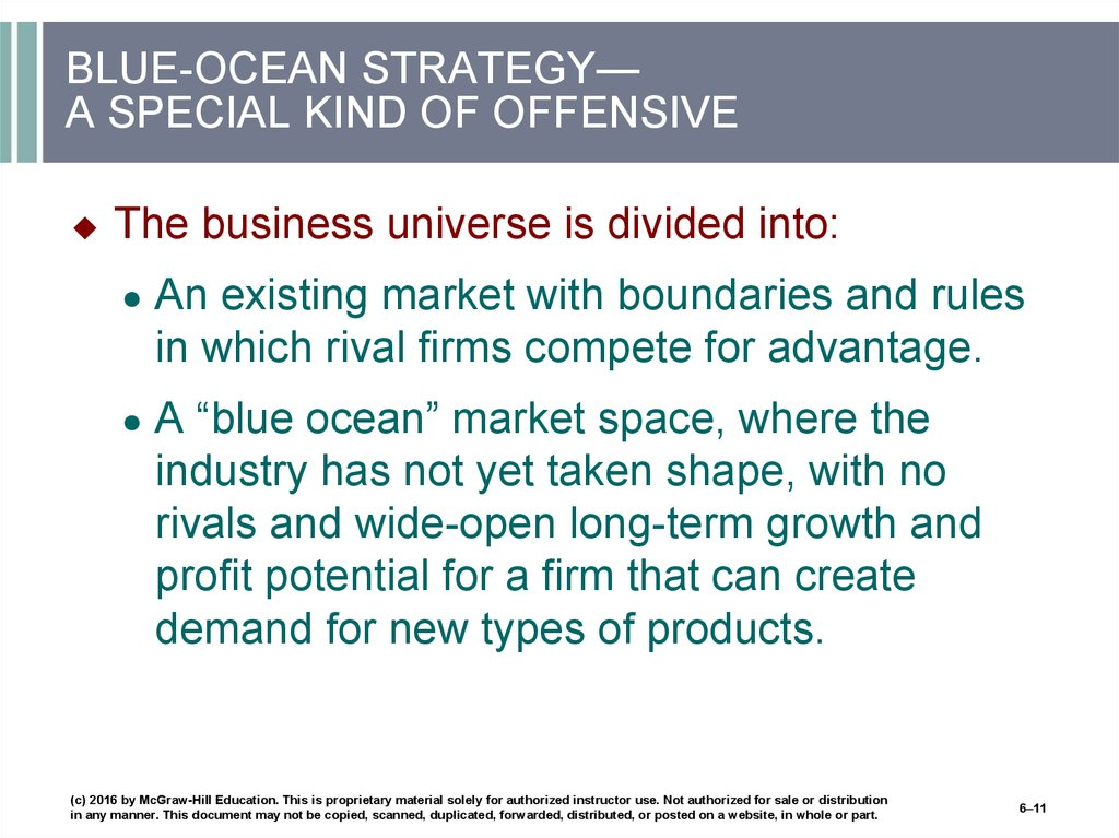 BLUE-OCEAN STRATEGY— A SPECIAL KIND OF OFFENSIVE