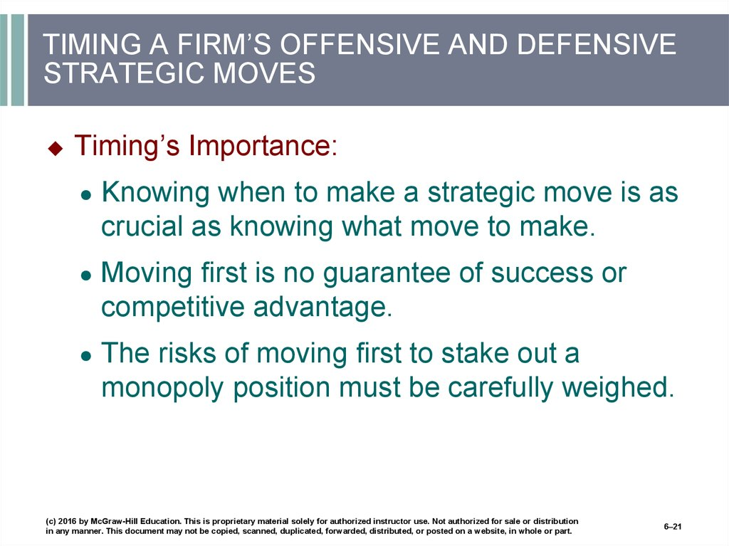 TIMING A FIRM'S OFFENSIVE AND DEFENSIVE STRATEGIC MOVES