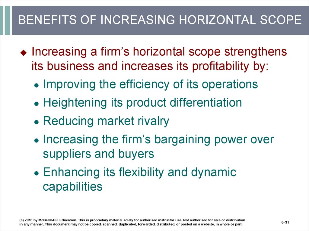 BENEFITS OF INCREASING HORIZONTAL SCOPE