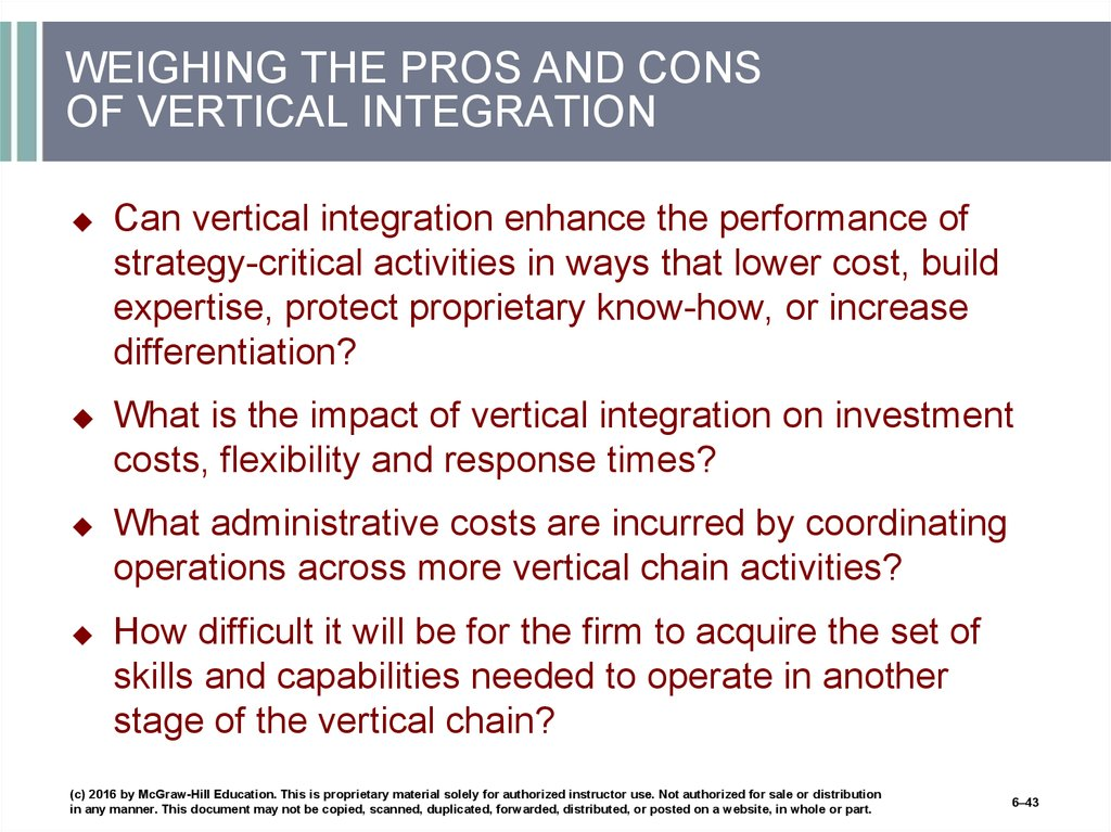 WEIGHING THE PROS AND CONS OF VERTICAL INTEGRATION