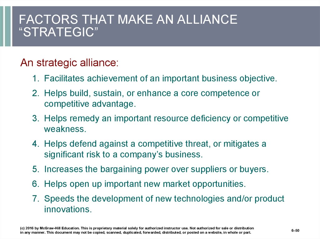 "FACTORS THAT MAKE AN ALLIANCE ""STRATEGIC"""