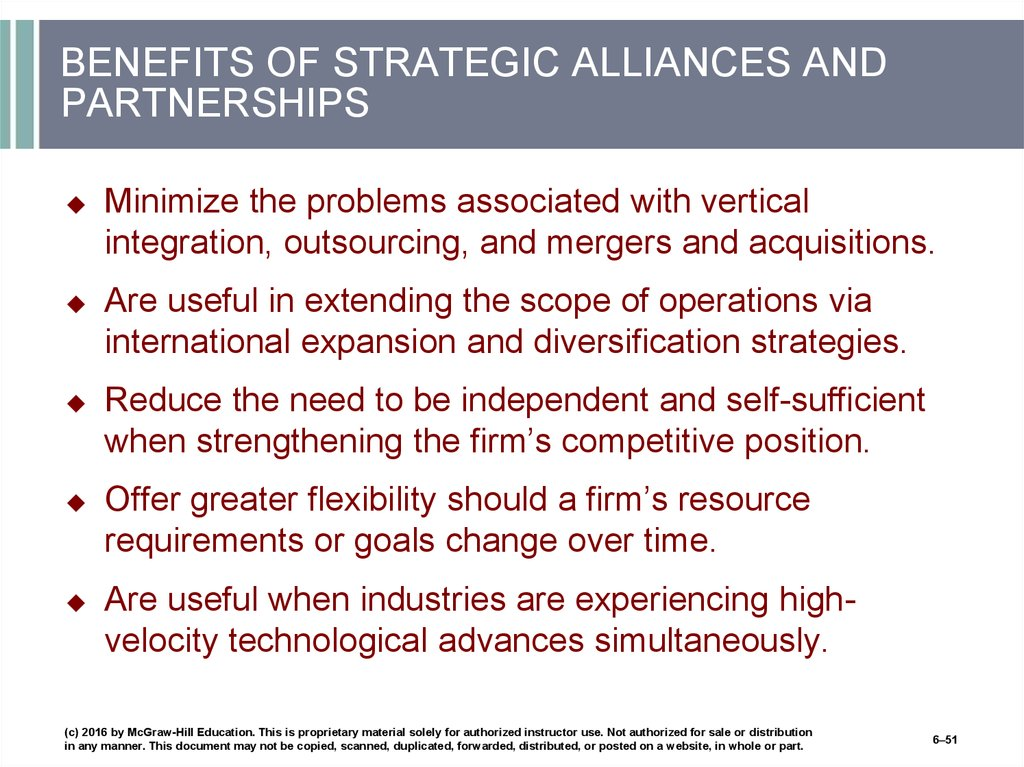 BENEFITS OF STRATEGIC ALLIANCES AND PARTNERSHIPS