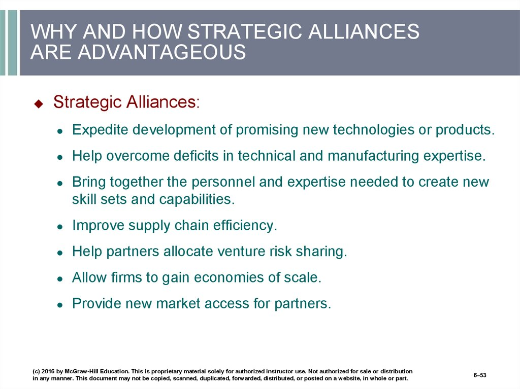 WHY AND HOW STRATEGIC ALLIANCES ARE ADVANTAGEOUS