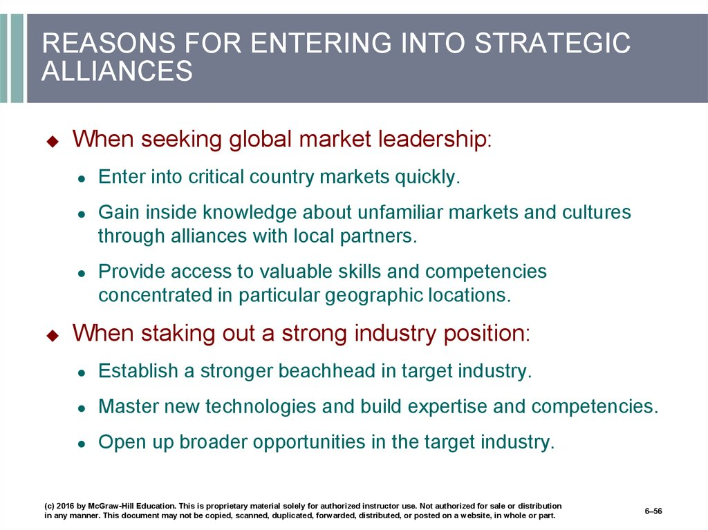 REASONS FOR ENTERING INTO STRATEGIC ALLIANCES