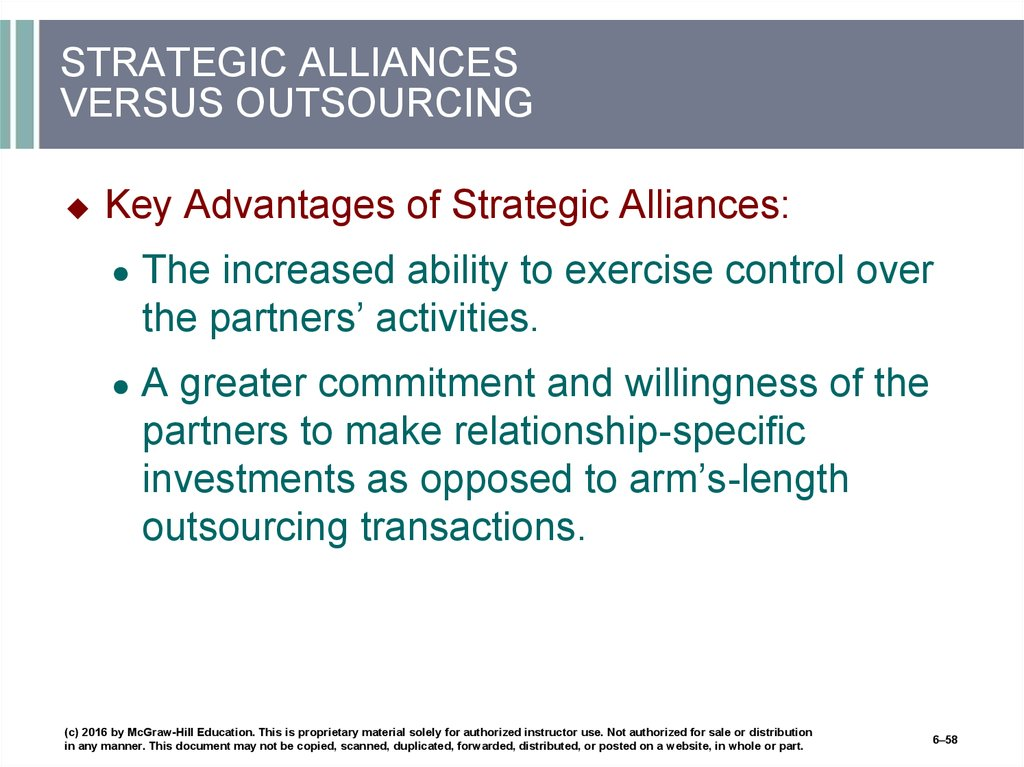 STRATEGIC ALLIANCES VERSUS OUTSOURCING