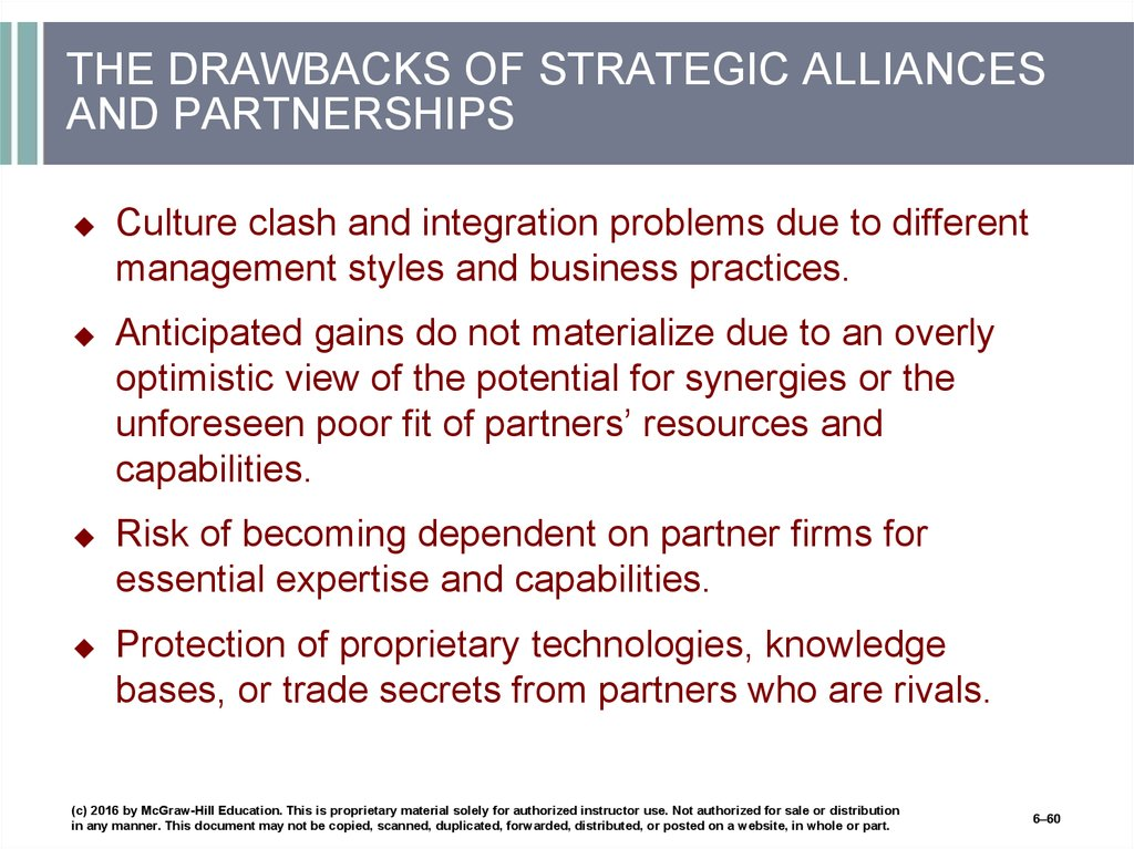THE DRAWBACKS OF STRATEGIC ALLIANCES AND PARTNERSHIPS