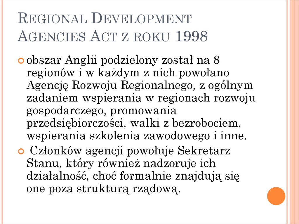 Regional Development Agencies Act z roku 1998