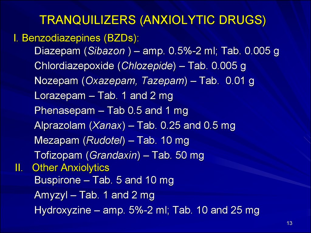 TRANQUILIZERS (ANXIOLYTIC DRUGS)