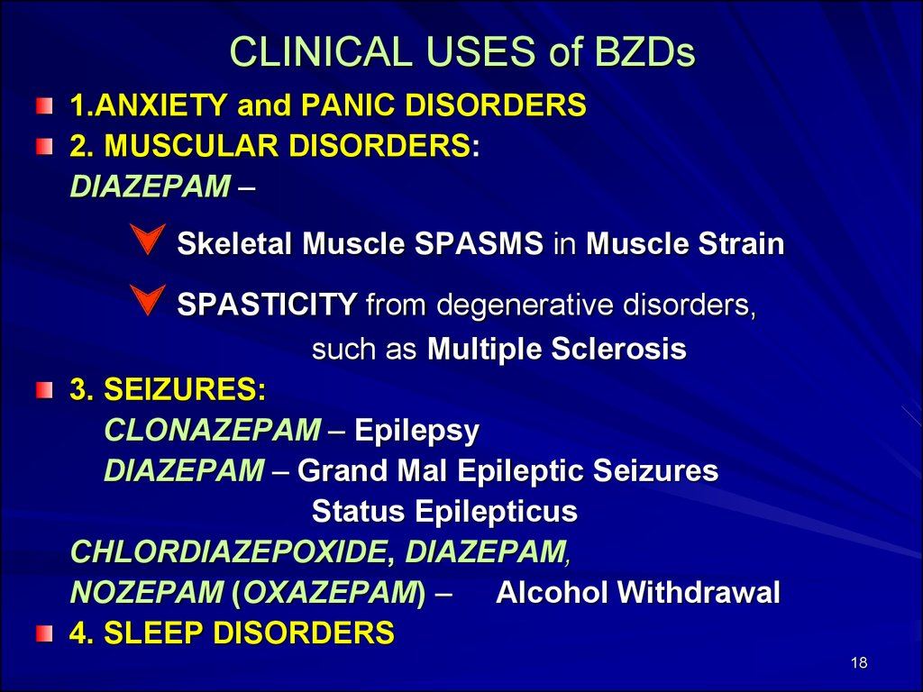 CLINICAL USES of BZDs