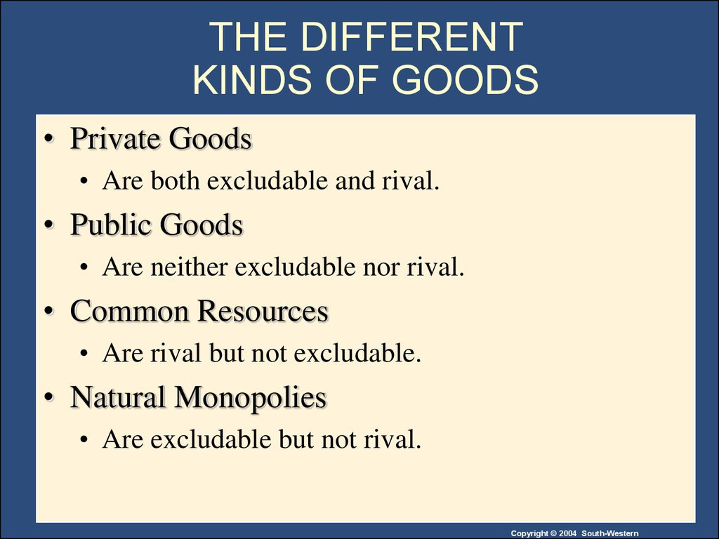 compare and contrast public goods private goods common resources and natural monopolies Private markets fail to provide public goods for both public goods and common resources private goods natural monopolies no.