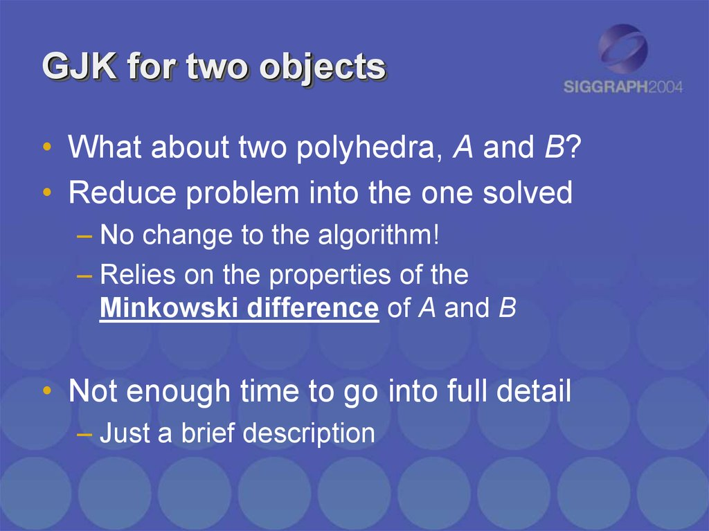 GJK for two objects