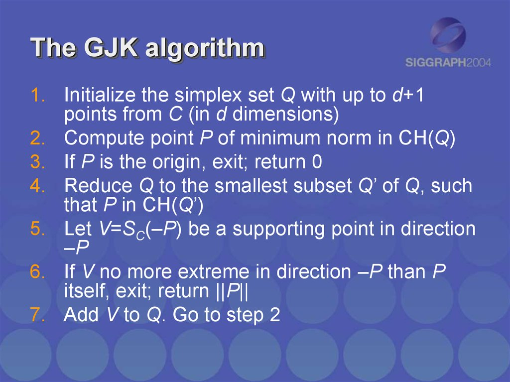 The GJK algorithm