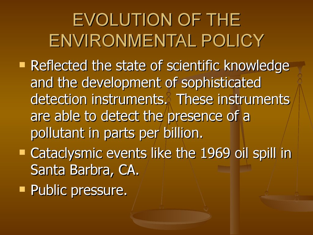 EVOLUTION OF THE ENVIRONMENTAL POLICY