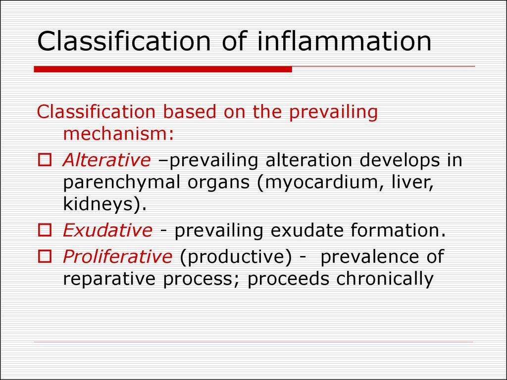 Classification of inflammation