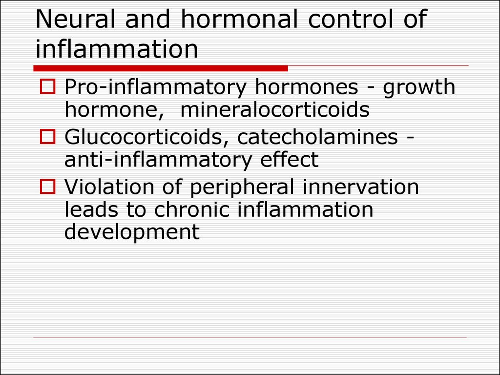 Neural and hormonal control of inflammation