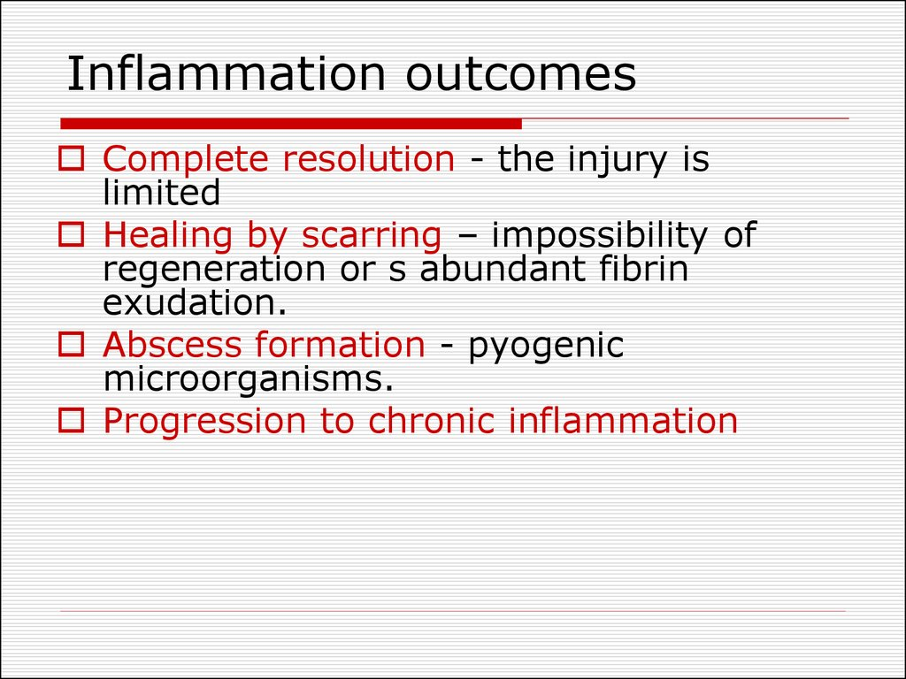 Inflammation outcomes