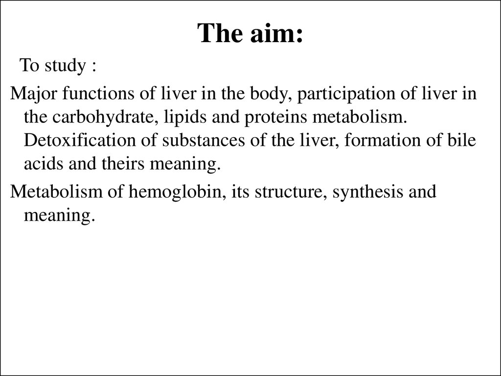 Metabolism Of Chromoproteids And Biochemistry Of The Liver