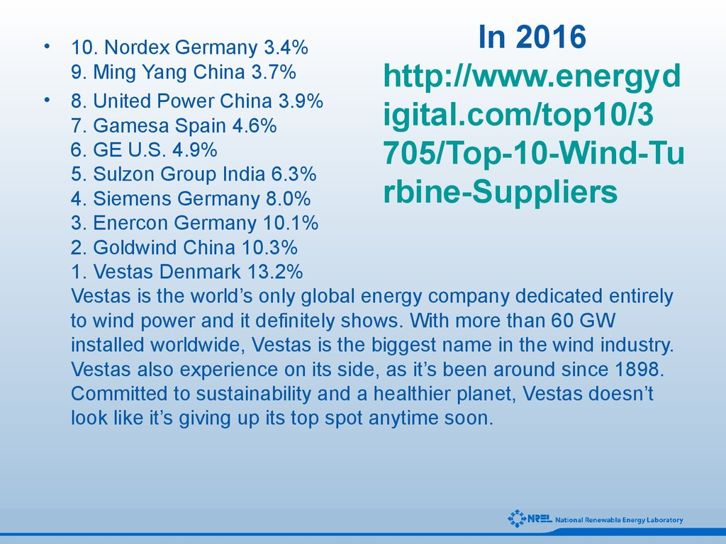 In 2016 http://www.energydigital.com/top10/3705/Top-10-Wind-Turbine-Suppliers