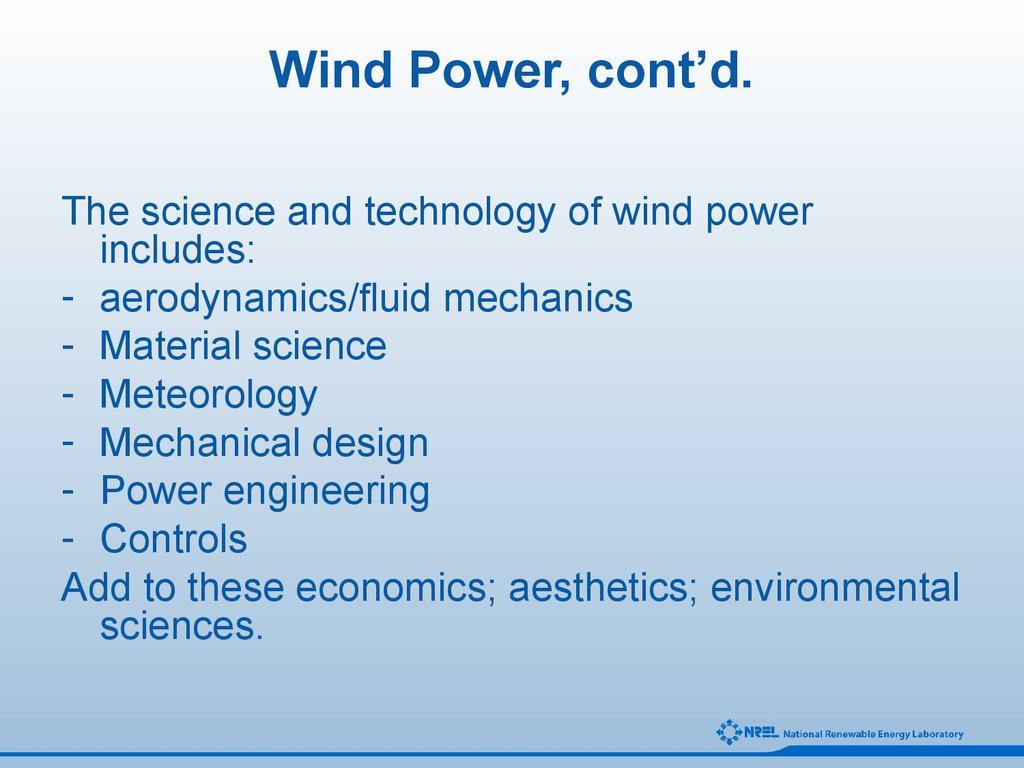 Wind Power, cont'd.