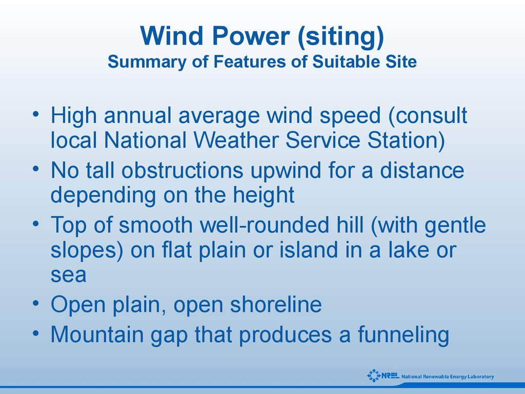 Wind Power (siting) Summary of Features of Suitable Site