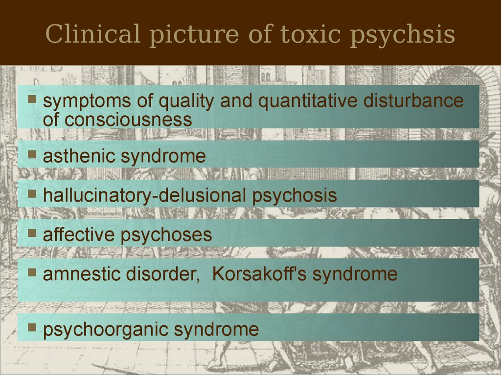 Clinical picture of toxic psychsis