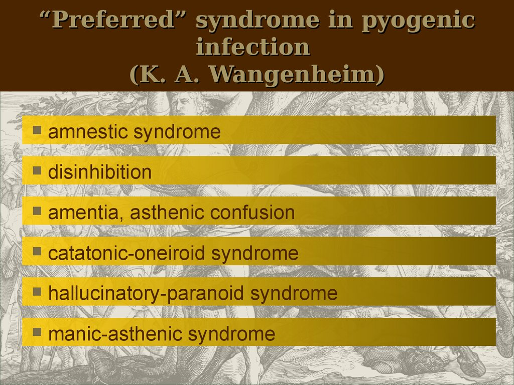 """Preferred"" syndrome in pyogenic infection (K. A. Wangenheim)"