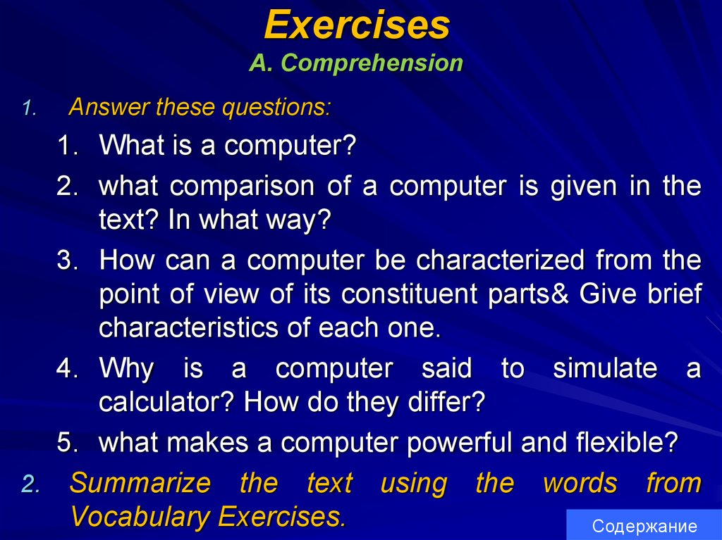 Exercises A. Comprehension