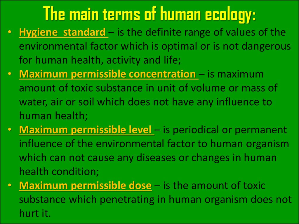 The main terms of human ecology:
