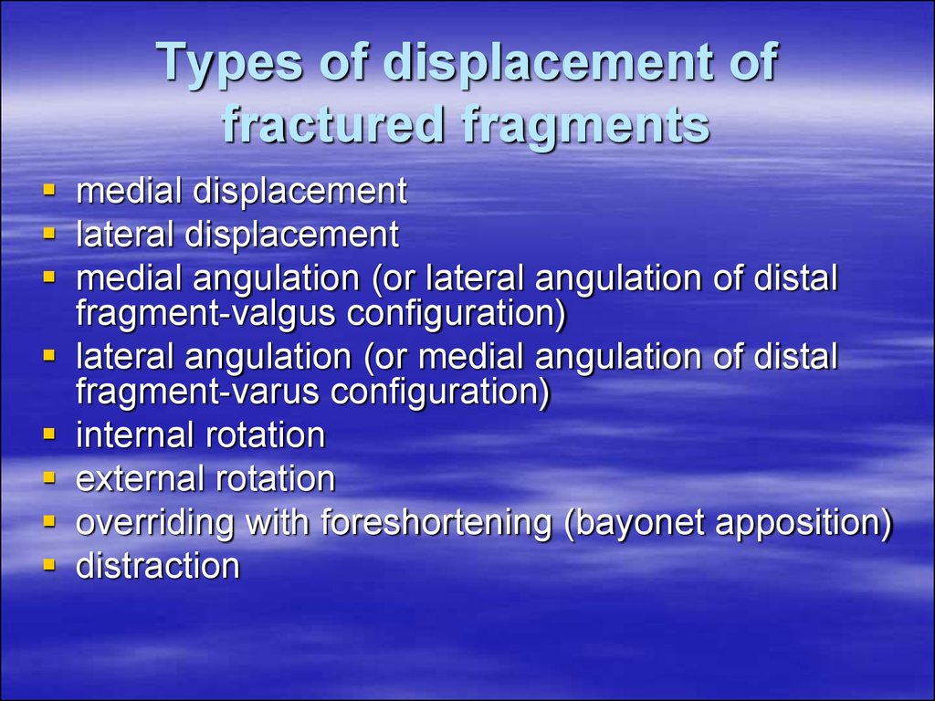 Types of displacement of fractured fragments