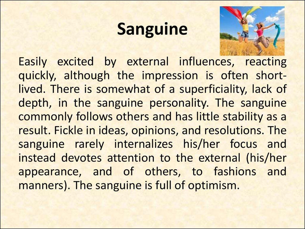 Characteristics of sanguine personality
