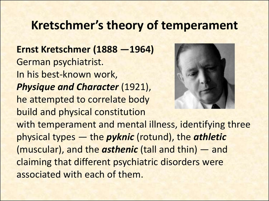 Kretschmer's theory of temperament
